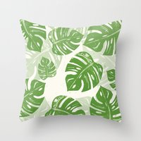 Linocut Leaf Pattern Throw Pillow