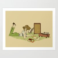 Record Player Girl Art Print