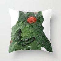 el monstro verde Throw Pillow