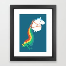 Fat Unicorn on Rainbow Jetpack Framed Art Print