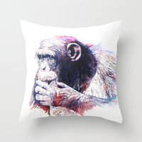 Throw Pillow featuring Monkey by Cristian Blanxer