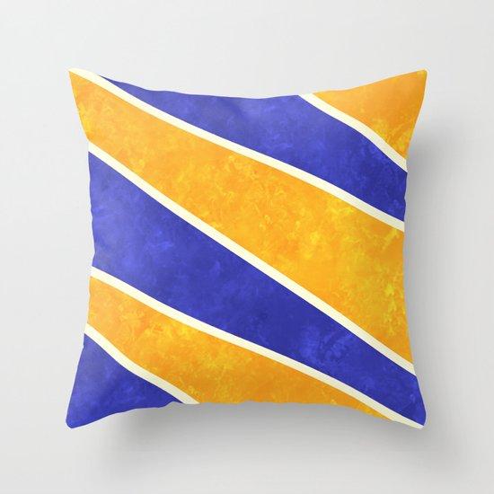Blue and Orange Diagonal Stripes Throw Pillow