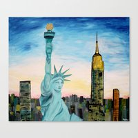 Statue Of Liberty With V… Canvas Print