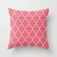 Constantine Lattice Coral Pink Throw Pillow