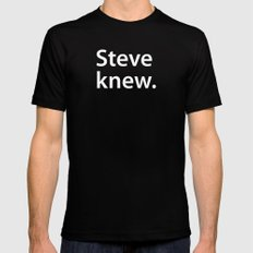 STEVE KNEW. SMALL Black Mens Fitted Tee