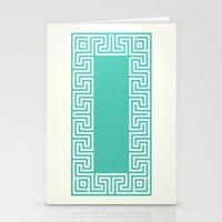 Greek Key Turquoise Stationery Cards