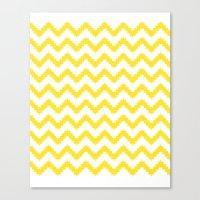 Funky Chevron Yellow Pat… Canvas Print