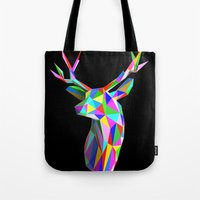 3D Stag Black Background Tote Bag