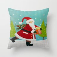 Santa And Presents Throw Pillow