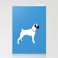 Stationery Card featuring White Boxer Dog Art Print by ialbert