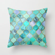 Cool Jade & Icy Mint Decorative Moroccan Tile Pattern Throw Pillow