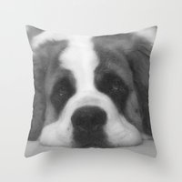 St. Bernard Portrait -- Black & White Throw Pillow