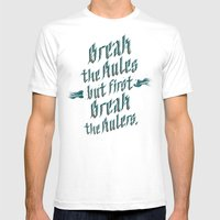 break the rules Mens Fitted Tee White SMALL