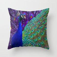 Purple-Blue Peacock & Tail Art Design Throw Pillow