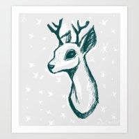 sketchy deer Art Print