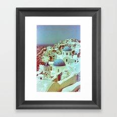 Santorini in Raspberry and Blue: shot using Revolog 600nm special effects film Framed Art Print