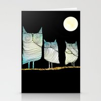 owls Stationery Cards featuring Owls by Brontosaurus