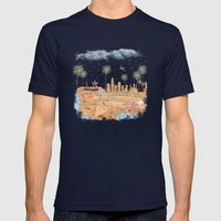 Los Angeles skyline vintage map Mens Fitted Tee Navy SMALL