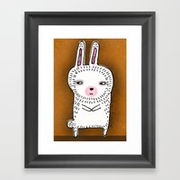SHIFTY RABBIT Framed Art Print