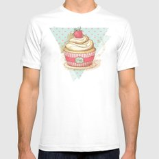 my Vintage Cupcake SMALL White Mens Fitted Tee