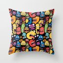 Monster Faces Pattern Throw Pillow