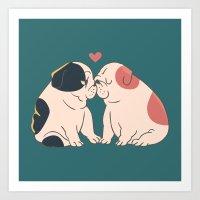 English Bulldog Kisses Art Print