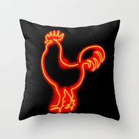 Glowing Cock Throw Pillow