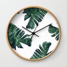 Banana Leaf Watercolor Pattern #society6 Wall Clock