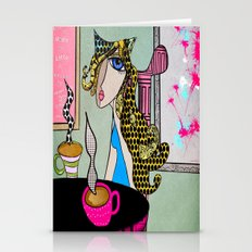 Kat in coffee shop #3 Stationery Cards