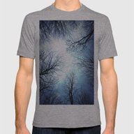 Black Trees Blue Sky Mens Fitted Tee Athletic Grey SMALL