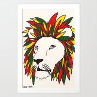 Rasta Lion Art Print