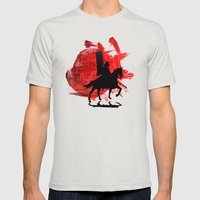 Japan Samurai Mens Fitted Tee Silver SMALL