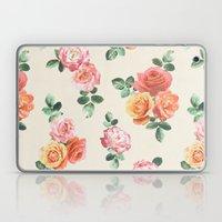 Retro Peach and Pink Roses Laptop & iPad Skin