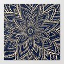 Cute Retro Gold abstract Flower Drawing on Black Canvas Print