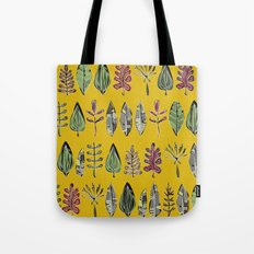 leaves and feathers saffron Tote Bag