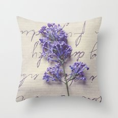Love Letter With Lilac Throw Pillow