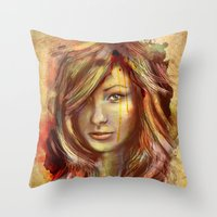Olivia Wilde Digital Painting Portrait Throw Pillow
