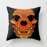 Throw Pillow featuring Werewolf Skull by Missmonster