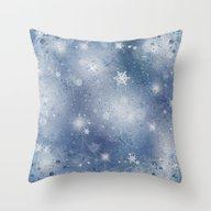 Silver Blue Snowflakes Throw Pillow