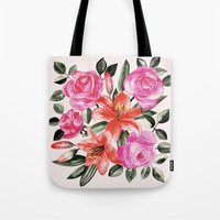 Roses And Lilies In Wate… Tote Bag