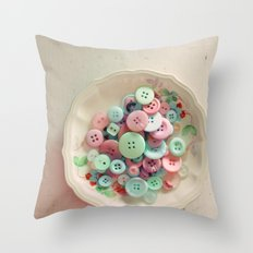 Bowl of Buttons Throw Pillow