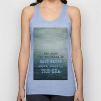 The cure for anything is salt water, sweat, tears, or the sea.    Dinesen Unisex Tank Top