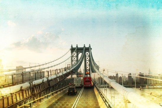 New York Rising 04 _ manhattan bridge Canvas Print
