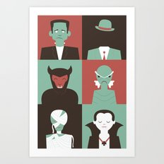 Monster Mash Green Art Print