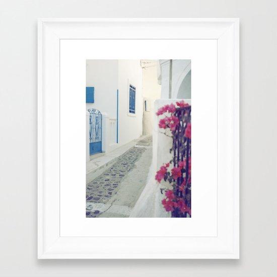 White Santorini Street Framed Art Print