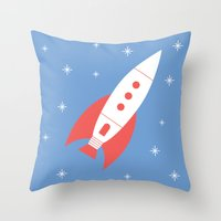 #78 Rocket Throw Pillow