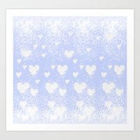 snowing hearts Art Print