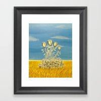 Silver Flowers On Golden… Framed Art Print