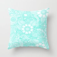 Henna Design - Aqua Throw Pillow