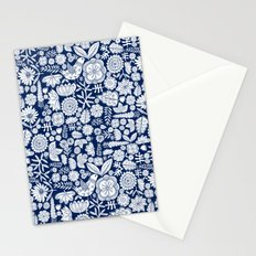 midnight blue garden party Stationery Cards
